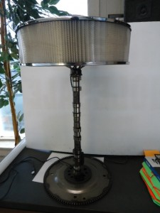 Tall dual led lamp with 5in air cleaner